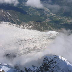 View from the Aiguille du Midi ski lift in Chamonix