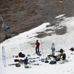 With not much snow left the team gets ready to take some turns - ©Travis Ganong