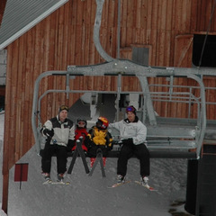 Dads and kids ride Stella at Schweitzer. Photo by Becky Lomax.