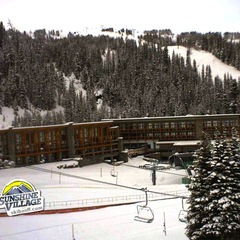 Snow amasses early season at Sunshine Mountain Lodge. Photo courtesy of Sunshine Village webcam.