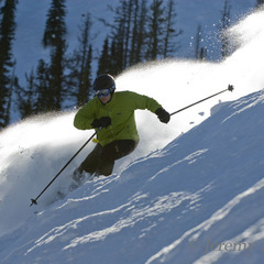 A skier in powder at Discovery Basin, Montana.