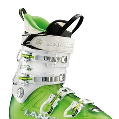 Lange XT 100 W LV Women's Ski Boot—Lange's latest women's freeride boot features their Power V-Lock technology. An insert in the lower shell locks with the pull of a tab for downhill mode and articulates backward for greater range of motion when hiking. D