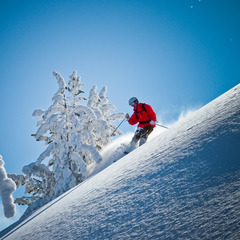 A skier drops through steeps at Mt. Anthony Lakes. Photo by Paul Clark, Black and Red Photography.