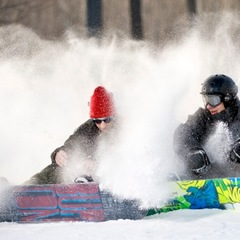 Snowboarders at Spirit Mountain in Minnesota.