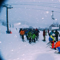 First chair on a powder day at Bromley.  12/27/2012