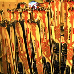Rental ski fleet at Crystal Mountain Resort. Photo by Becky Lomax.