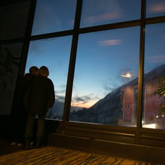 A couple takes in the sunset from the Cliff Lodge at the beast of Snowbird resort. - ©Liam Doran