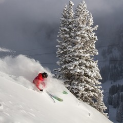 A lone skier enjoys fresh powder during the early morning hours at Snowbird, Utah.