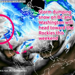 The weekend storm is already visible on the Wednesday satellite map.