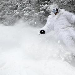 The yeti was out to get the goods at Okemo.