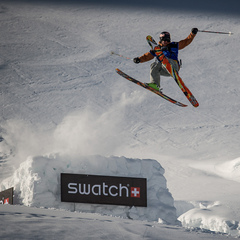Richard Permin takes off at the Swatch Skiers Cup.