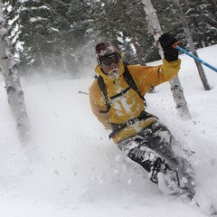 Brennan Severance makes the most of a springtime powder day in Parc Nacional de la Gaspesie - Mont Chic Chocs, Quebec,