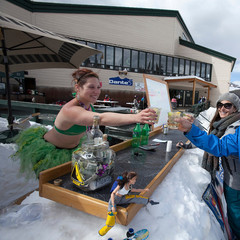 Staying hydrated on St. Patty's Day is a full time job at Dante's at Durango Mountain Resort.