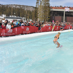 Pond skimming in the spring at Mammoth Mountain.