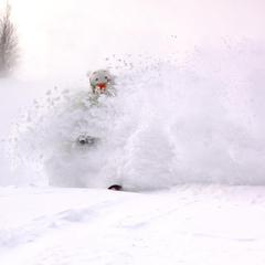 Blasting through the powder at Loon Mountain in New Hampshire.