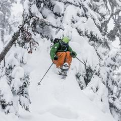 Giffin comes out of the trees at Mt. Baker. - ©Liam Doran