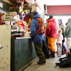 Thirsty skiers line up at the Grizzly Ridge Station in Bozeman.