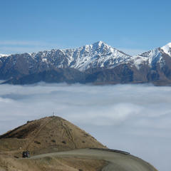 The road between The Remarkables Resort and Queenstown somewhere below the clouds