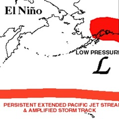 El Nino generally forces the jet stream to take a more southern track from the Pacific Ocean through the U.S. This increases the chance of snow across the southern third of the county and increases the chance of warmer and drier weather across the norther