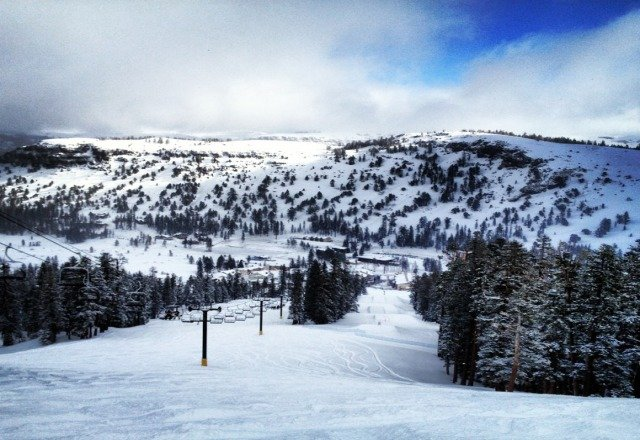 perfect conditions. light powder dropping all day and wind was pretty mild. should set up for a great weekend at Kirkwood