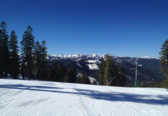Great snow today. Surprising considering almost no snowfall during the month of January. Biggest snowmaking capacity in Tahoe pays off again!!!!