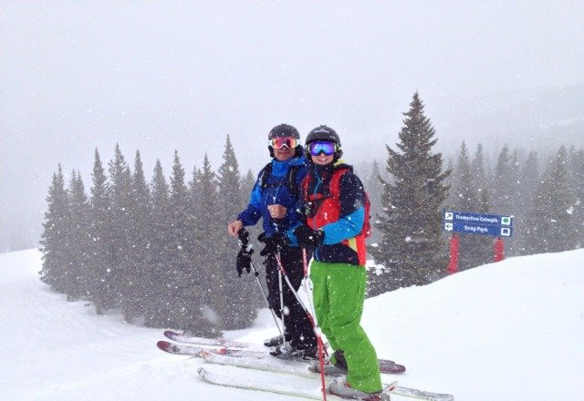 ski blue ski great snow cloud 9 fav run sunny/clouds with some snowing 1-2