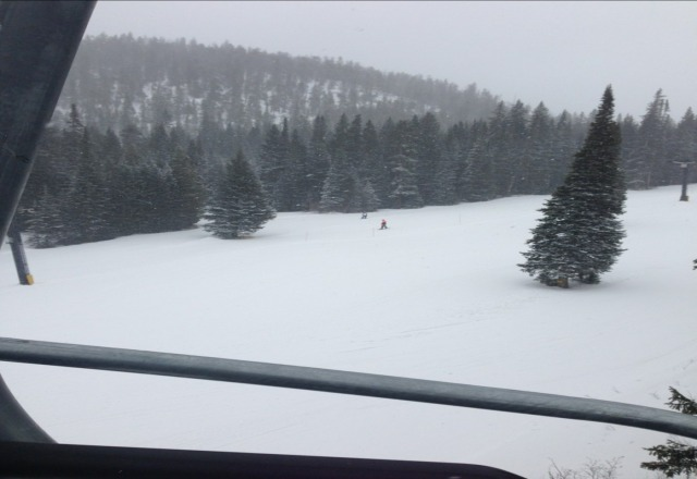 good day skiing. snow was very good. occasionally very high wind gusts.