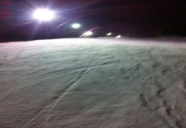 lots of snow, but icy night skiing.