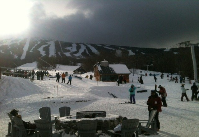 great day on the mountain. all lifts open. some of the groomers were getting skied off.
