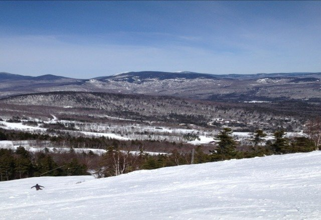 Great day at river. Warm temps brought out some tshirts! Good packed powder surface.