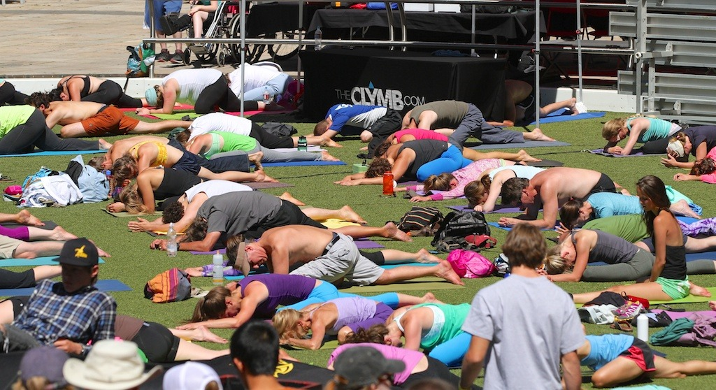 It was all about group Yoga on Sunday morning - © Tim Shisler