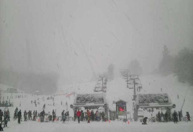 photo from base lodge, okemo side..2:10pm