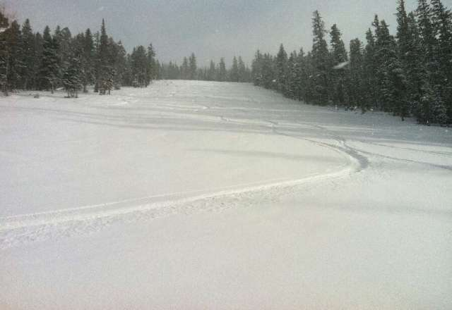 Last tracks of the day, still fresh at 4pm.  All day like this at Eagle Point