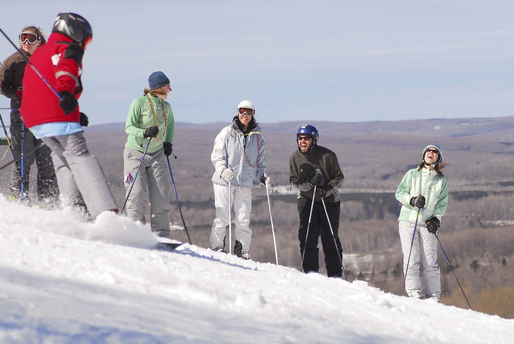 Skiers laughing at Nub's Nob, Michigan