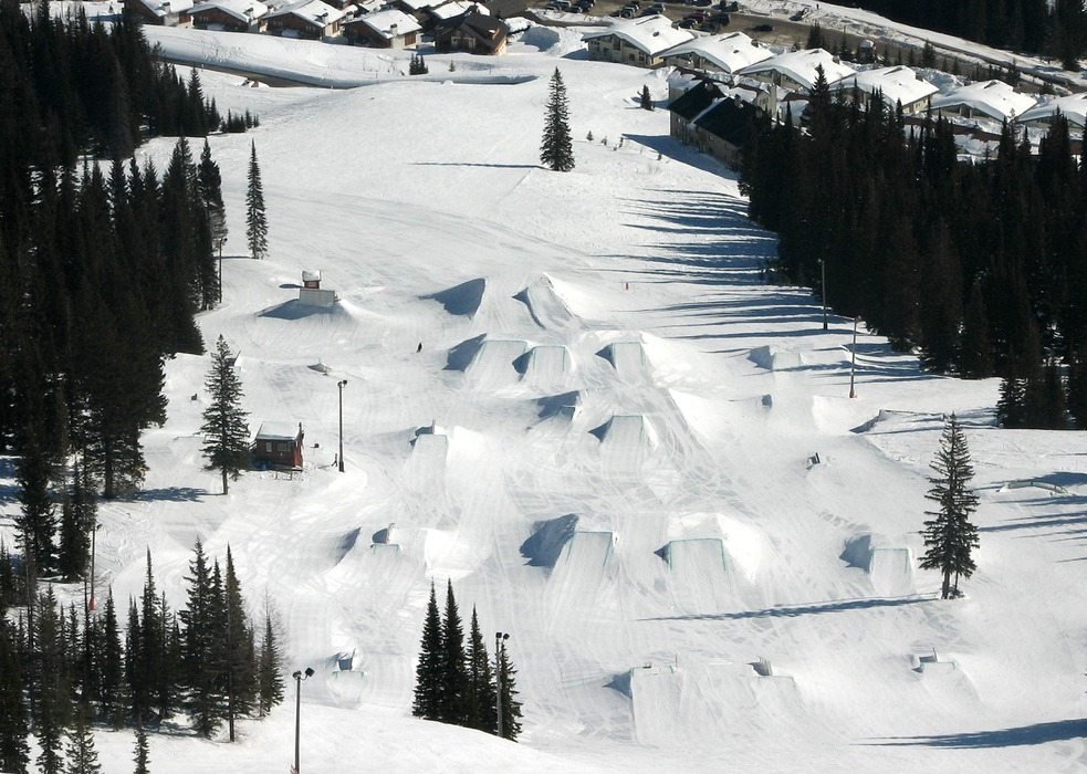 Overhead view of the terrain park in Schweitzer Mountain, Idaho. Photo courtersy of Schweitzer Mountain Resort.