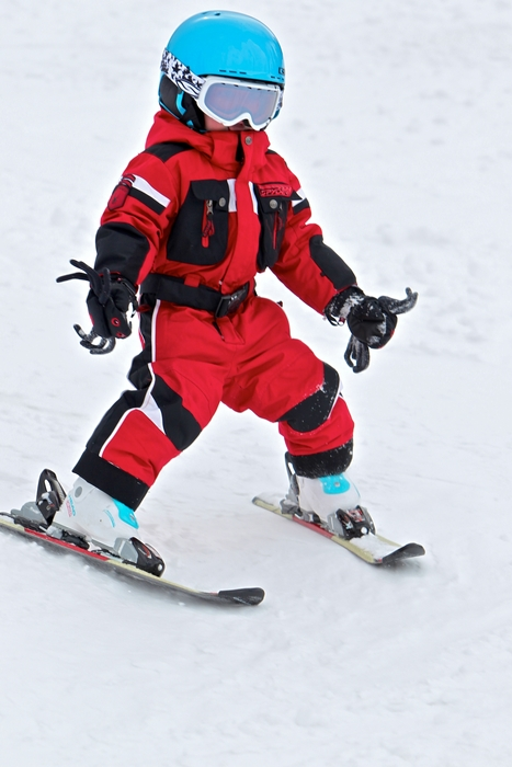 A young skier in the Eldorables ski program zips down the hill at Eldora. Photo courtesy John Waugh.