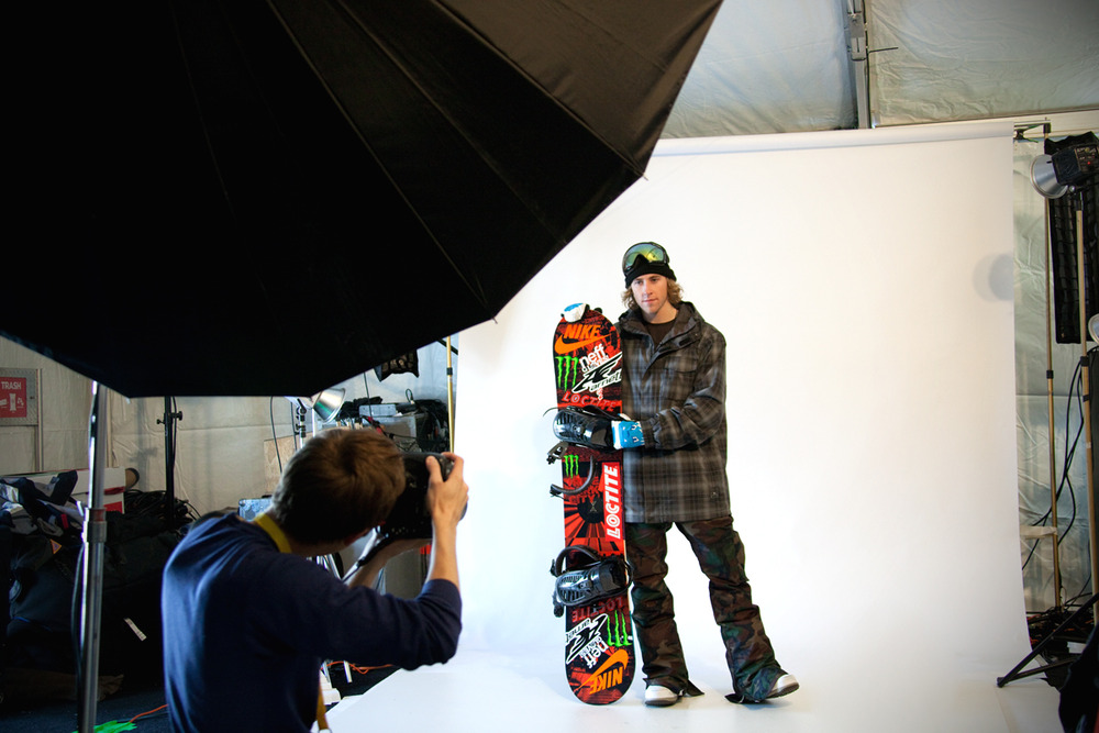 Behind the scenes in the press room with Sage Kotsenburg. Photo by Sasha Coben