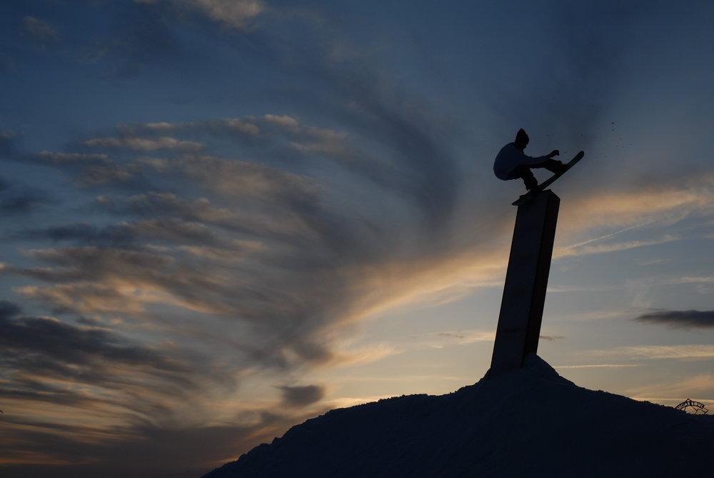 A view of the terrain park at Sugar Bowl Ski Resort, California at dusk
