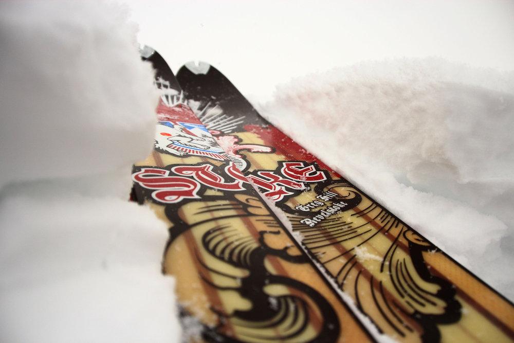 Je breiter, desto besser im Tiefschnee. Hier die breitesten Latten aus dem Hause Dynafit - © Ulligunde