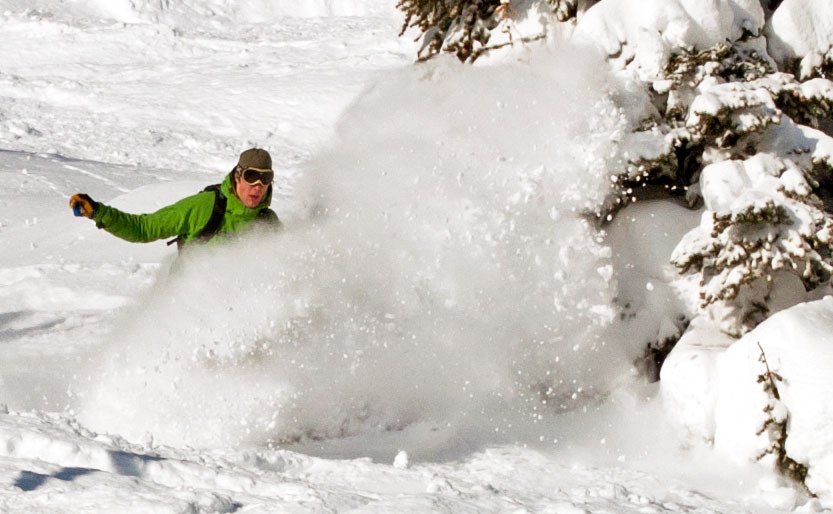Spring powder in Sunshine Village. Photo by Shawn Alain, courtesy of Ski Big Three.