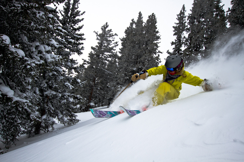 Rebecca Selig gets down into the fresh Colorado snow. Photo by Liam Doran