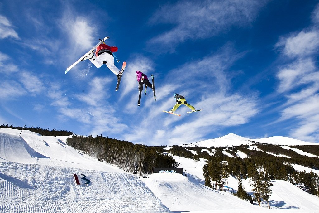 Triple play. Jump Line in Park Lane, Breck. - © Breckenridge Ski Resort