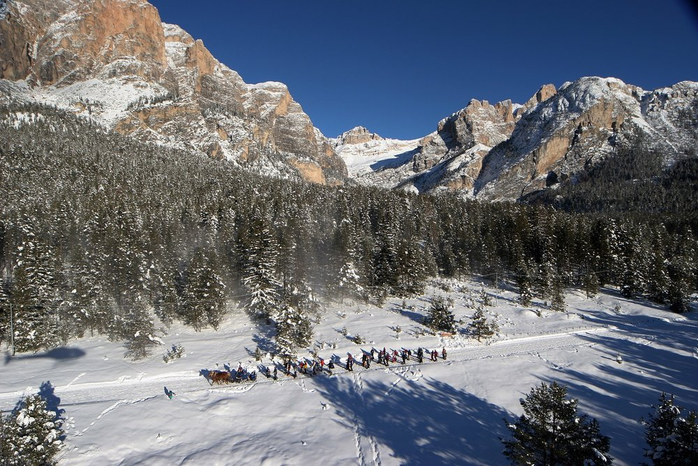Horse-drawn drag lift in Dolomiti Superski - Ski safari.  - © Alta Badia