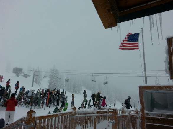 Monday, 1-13-2014.....white out, windy on top of Storm Peak @10,372 ft...this is Four Points Lodge @9,716 ft....excellent champagne powder day of skiing everywhere at Steamboat !!!
