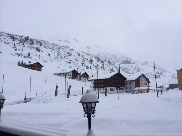 From the porch of Lorunser Sporthotel Great day of powder skiing. Week looks great