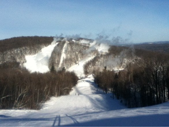 Blowing snow over on the t-bar! Excited for it to open.