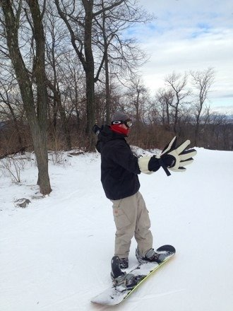 Great snow today. Ice 101 and big gloves!