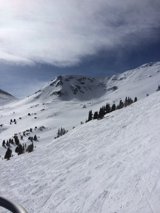Going up peak 6 on 1/29......today is the most powder I have ever been in.  A lot harder than I expected.  Probably 18