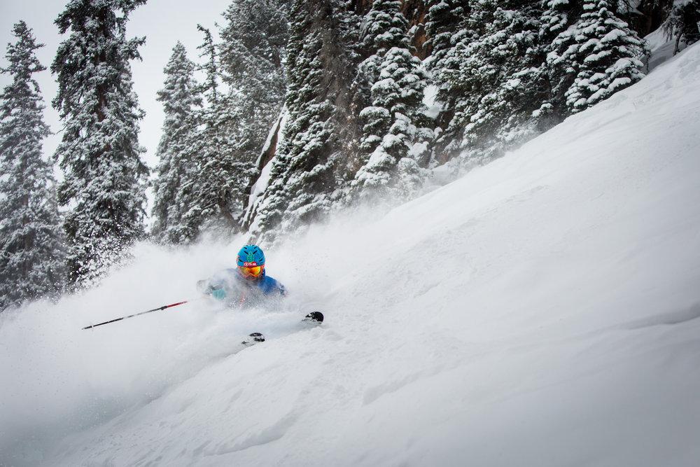 Slayin' the snow head-on. - ©Jeremy Swanson