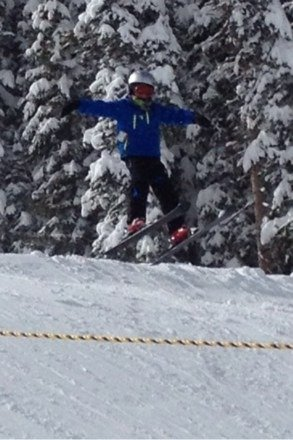 Packed powder, but still great snow!  Here is Nate making a jump!